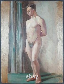 Ancien Tableau Nu Masculin Peinture Huile Antique Oil Painting Dipinto Gemälde