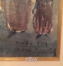 Ancien Tableau Orientaliste Aquarelle Signé Charle Brouty Blida Algérie 1919