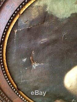 Ancien Tableau Ovale Femme nue accroupie style Henner, non signé