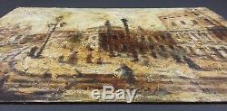 Ancien Tableau Palais des Doges à Venise Peinture Huile Antique Oil Painting