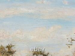 Ancien Tableau Paysage Animé Peinture Huile Antique Antique Painting Dipinto