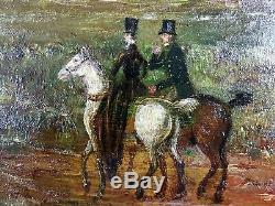 Ancien Tableau Paysage Animé Peinture Huile Antique Oil Painting Ölgemälde