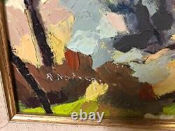Ancien Tableau Paysage R. Noiray Peintre Peinture Toile French antique France
