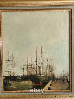 Ancien Tableau Peinture A L'huile Marine Signature A Identifier