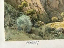 Ancien Tableau Peinture Aquarelle Signe Caminade