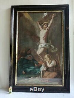 Ancien Tableau Peinture Crucifixion Religieux Ecole Française Jésus 1870 Signé