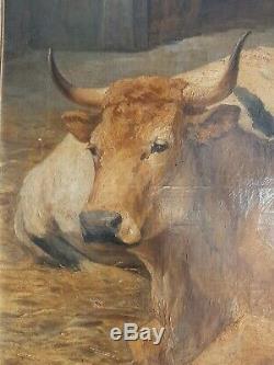 Ancien Tableau Peinture HSP Animalier Vaches Richard Fin XIX ème rosa bonheur