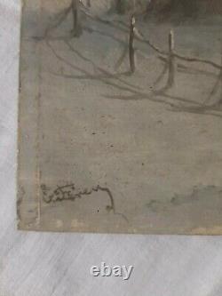 Ancien Tableau Peinture HSP Paysage Enneigé Marcheurs Barbizon Xix Ème