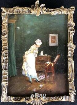 Ancien Tableau Peinture HSP XIXe Femme à la Toilette Signé Painting Dipinto 19th