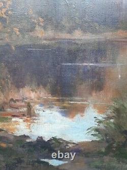 Ancien Tableau Peinture HST Paysage Lac G. Charaire Milieu XX ème