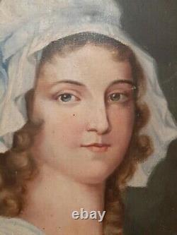 Ancien Tableau Peinture HST Portrait Femme Domestique Coiffe XIXème