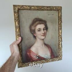 Ancien Tableau Peinture HST Signé Albert Lynch Jeune Beauté Old Painting xixeme