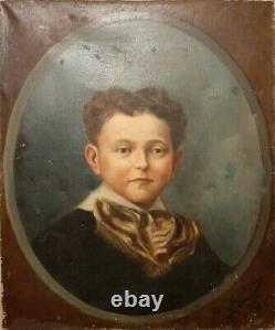 Ancien Tableau Peinture HST portrait Garçon Enfant Xix Eme