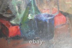 Ancien Tableau Peinture Huile Hst Verre Chimie Laboratoire Signe Genoud