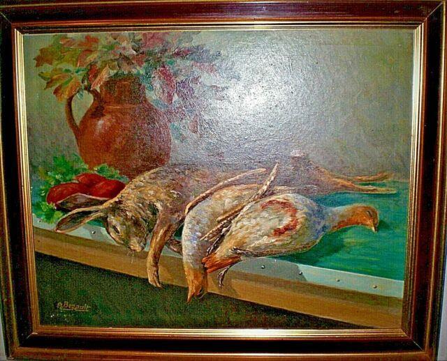 Ancien Tableau Peinture Huile Nature Morte Chasse Gibier Signe