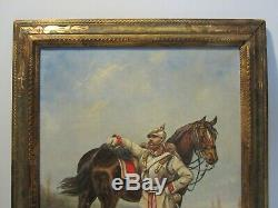 Ancien Tableau Peinture Huile Soldat Cuirassier Prussien/militaire/military