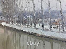 Ancien Tableau Peinture Huile Sur Bois Signe Rene Schmid Canal Bourgogne Flagny