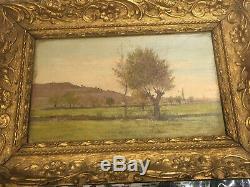 Ancien Tableau Peinture Huile Sur Toile Paysage Provence Signature Paul Faugier