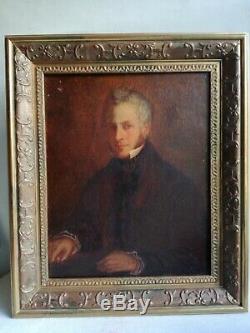 Ancien Tableau Peinture Huile Toile Ecole Française Portrait D Homme Début 19 Em