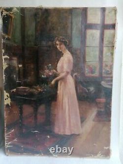 Ancien Tableau Peinture Huile Toile Ecole Hollandaise Portrait Femme Art Nouveau