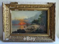 Ancien Tableau Peinture Huile Toile Marine Corse Vue Du Littoral Tour Génoise