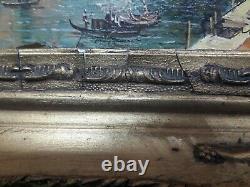 Ancien Tableau Peinture Huile Venise Signé
