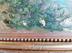 Ancien Tableau Peinture Impressionniste Vue Du Loing Pres De Moret Sur Loing