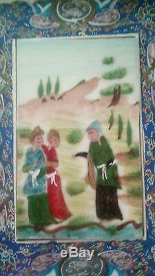 Ancien Tableau Peinture Marqueterie incruster de nacre Perse Qajar Kadjar 1900