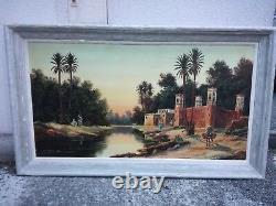 Ancien Tableau Peinture Orientaliste Afrique Du Nord Emile Jantet 70 X 130 CM
