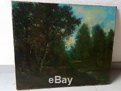 Ancien Tableau Peinture Par Camille MAGNUS Barbizon old Painting xixeme signé