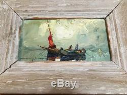 Ancien Tableau Peinture Signée Encadree Elie Bernadac Cote D'azur