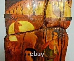 Ancien Tableau Peinture Sur Platre Scene De Fauconnerie Pas Toile Cadre
