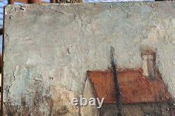 Ancien Tableau Peinture à l'huile signée GUTTUSO artiste peintre Paysage art