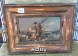 Ancien Tableau Peinture à lhuile sur panneau