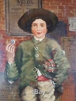 Ancien Tableau Personnage Peinture Huile Antique Oil Painting Dipinto Gemälde