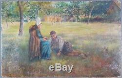 Ancien Tableau Personnages dans un Parc Peinture Huile Antique Painting