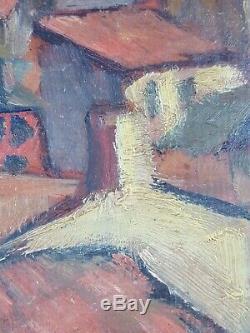 Ancien Tableau Place aux Sables-d'Olonne Peinture Huile Antique Oil Painting