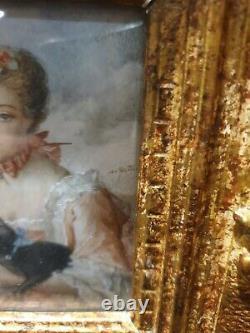 Ancien Tableau, Portrait, Miniature, Peinture, Portrait De Femme, Xixeme