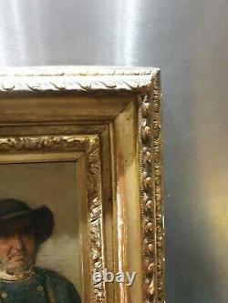 Ancien Tableau, Portrait, Peinture, Homme, Pont Avent 1876, Cadre Dore, Xixeme