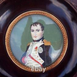 Ancien Tableau Portrait Peinture Miniature De Napoléon Ier et Joséphine sig. LJ