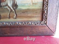 Ancien Tableau, Portrait, Xixeme, Cavalier, Peinture, Huile Sur Panneaux, Xixeme