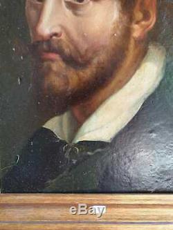 Ancien Tableau, Portrait, Xixeme, Homme Au Col Blanc, Huile Sur Carton, Peinture