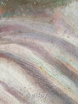 Ancien Tableau Portrait d'Homme Barbu Peinture Huile Antique Oil Painting