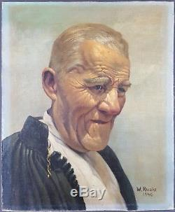 Ancien Tableau Portrait d'Homme Peinture Huile Antique Oil Painting