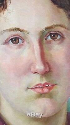 Ancien Tableau Portrait de Femme Peinture Huile Antique Oil Painting