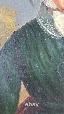Ancien Tableau Portrait de Femme Peinture Huile Antique Oil Painting Gemälde