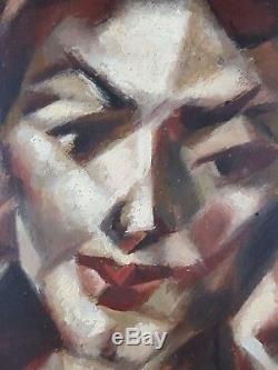 Ancien Tableau Portrait de Femme Peinture Huile Antique Oil Painting Old Panel