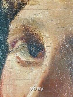 Ancien Tableau Portrait de Jeune Femme Peinture Huile Oil Painting Gemälde