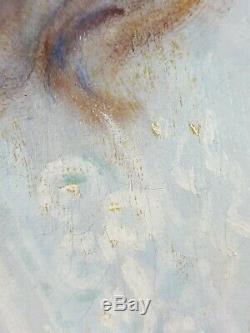 Ancien Tableau Portrait de Jeune Fille Peinture Huile Oil Painting Ölgemälde