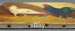 Ancien Tableau Poules Peinture Huile Antique Oil Painting Ölgemälde Dipinto